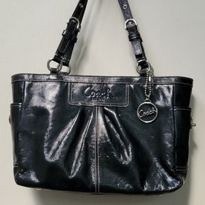 Coach Pleated Patent Leather Gallery Tote